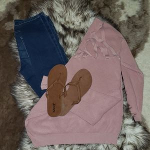 Simply Couture Tops - Pink mauve knit criss cross sweater